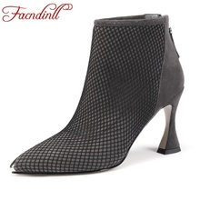 FACNDINLL 2020 new fashion brand women ankle boots sexy high heels pointed toe zipper black gray shoes woman dress party boots facndinll women boots new fashion autumn winter square high heels pointed toe zipper shoes woman dress party riding ankle boots