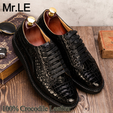 цена на Crocodile Shoes Men Dress 100% Genuine Leather Brand Designer Party Wedding Luxury Formal Men's Oxford Casual Alligator Shoes