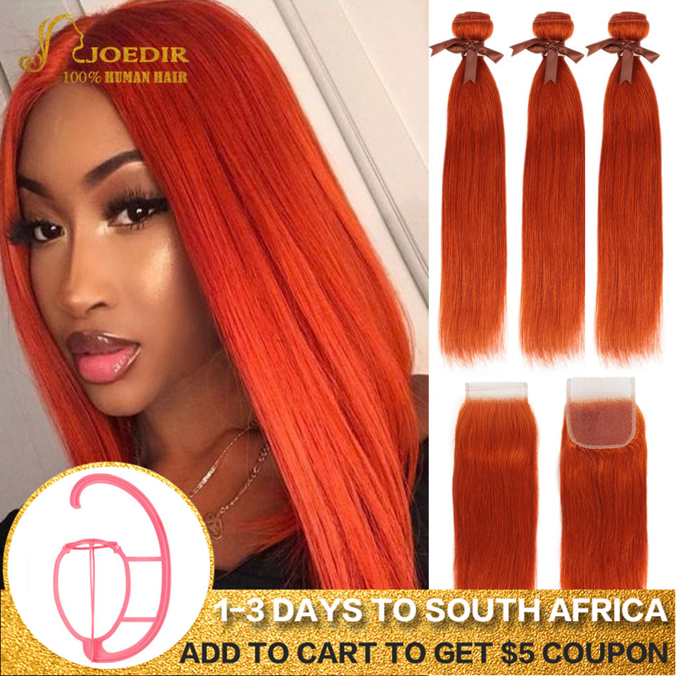 Joedir Hair Brazilian Straight Hair Bundles With Closure Human Hair Weave Bundles With Closure Orange Red Bundles With Closure