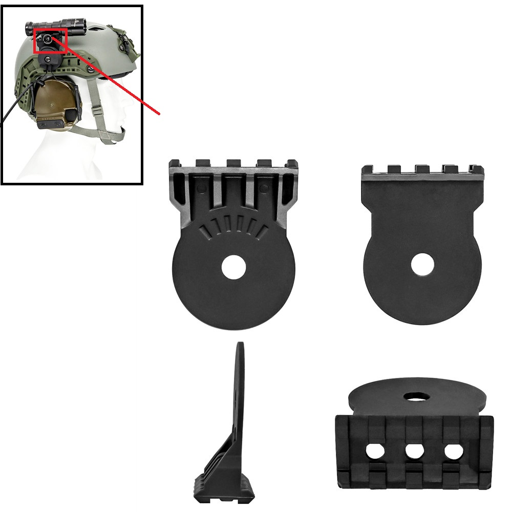 Tactical Peltor Comtac Headset Tactical Helmet Mount ARC Track Adapter Mounting Kit Platform For Tactical Flashlight  BK