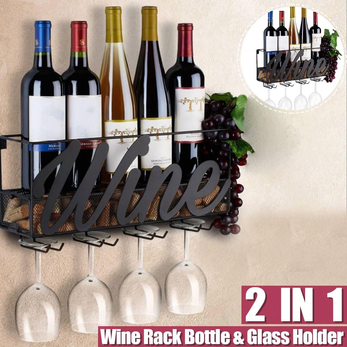 45x13x22 ซม.ติดผนัง Wine Rack ขวด Store แชมเปญชั้นวางของ 4 Built-in Wine แก้วและ Extra Cork ถาด