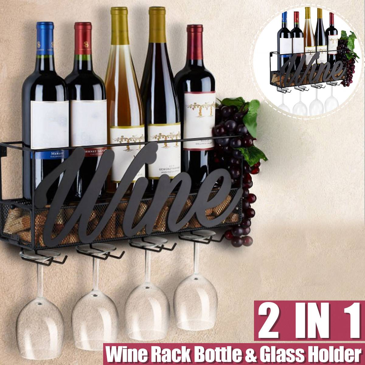 45x13x22cm Wall Mounted Wine Rack Bottle Store Champagne Shelf With 4 Built-in Wine Glass Holders And Extra Cork Tray