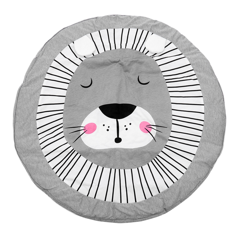90CM Kids Play Game Mats Round Carpet Rugs Mat Cotton Crawling Blanket Floor Carpet For Kids Room Decoration INS Baby Gifts Lion
