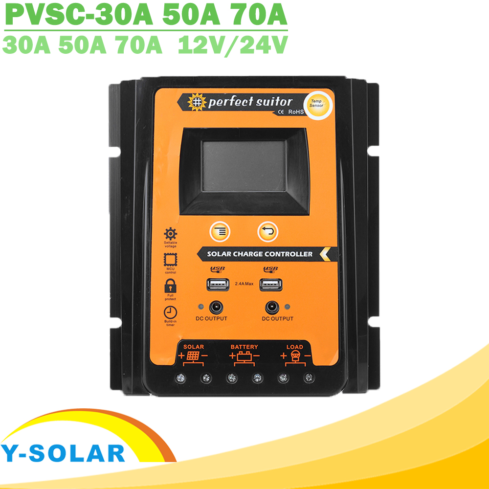 30A 50A 70A MPPT PWM Solar Charge Controller 12V 24V Dual USB Solar Regulator with Big LCD IP32 PV Battery Controller Load Timer(China)