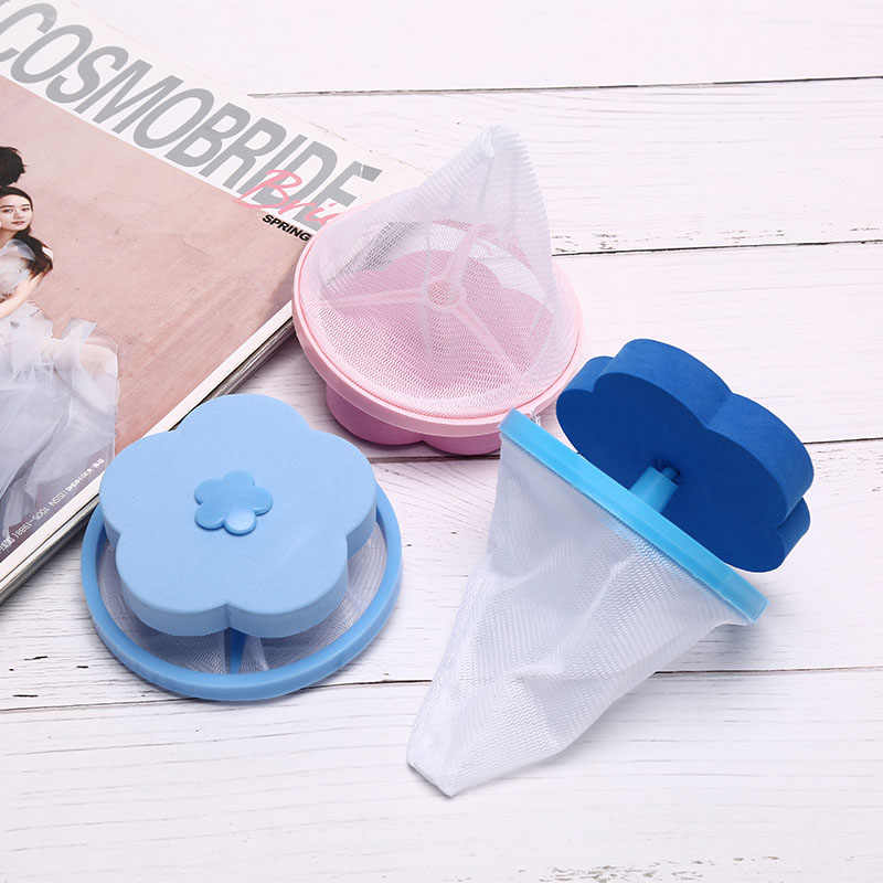 Binatu Mesh Filter Bag Mesin Cuci Membersihkan Kantong Berbentuk Bunga Mengambang Rambut Penangkap Tas Puing-puing Penghilang Bulu Bersih Serat Tas