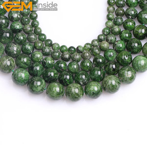 Image 3 - Gem inside AA Grade 7 14mm Natural Stone Beads Round Green Semi Precious Diopside Beads For Jewelry Making 15inch DIY Beads Gift