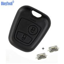 OkeyTech Замена переднего автомобильного ключа чехол с 2 переключателями для P eugeot 107 206 207 306 307 407 без лезвия Бесплатная доставка
