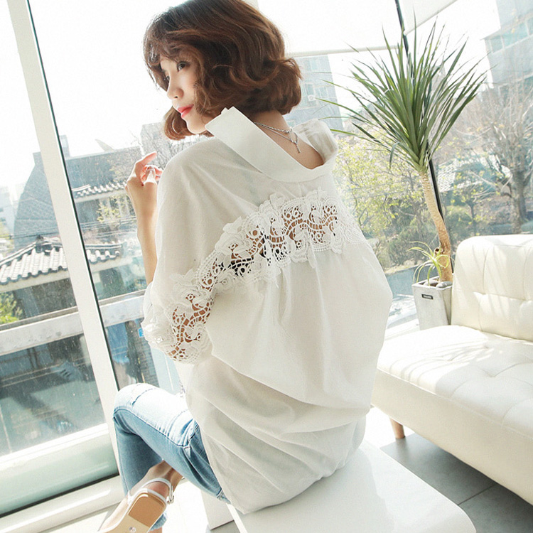 fashion women tops Summer 2020 backless sexy Hollow Out Lace Blouse Shirt Ladies casual Loose White office blouse women 1310 40 Women Women's Blouses Women's Clothings cb5feb1b7314637725a2e7: White