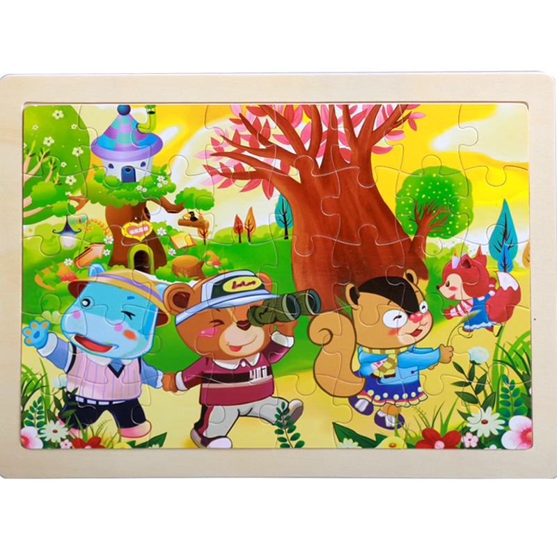 40 Pieces Kids Wooden Puzzle Board Toy Fun Cartoon Animal Jigsaw Boy Girl Baby Early Educational Learning Toys for Children Gift 16