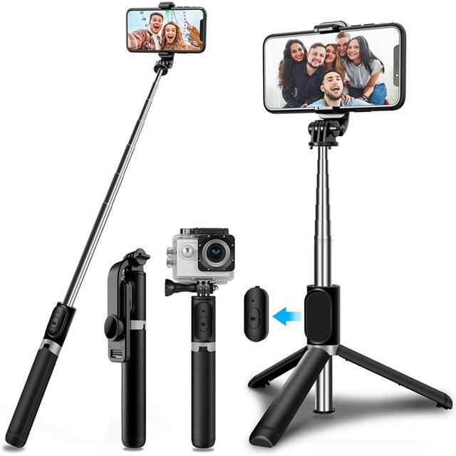 4 In 1 Draadloze Bluetooth Selfie Stok Met Statief Lichtmetalen Self Selfiestick Smartphone Selfie Stick 3 Telefoon Voor Iphone camera