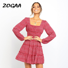 ZOGAA Fashion Floral Print Female Dress Bohemian Long Sleeve Layer Ruffles Autumn Party Dresses Red Yellow Black Vestidos 2019
