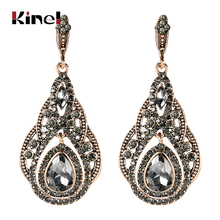 Kinel Fashion Antique Gold Big Drop Earrings For Women Bohemia Gray Crystal Flower Vintage Wedding Earrings Turkish Jewelry kinel 2020 new boho ethnic big drop earrings antique gold color beach gray crystal bridal earrings for women vintage jewelry
