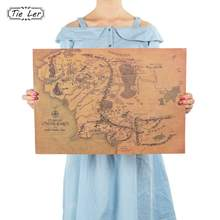 Vintage Middle Earth Map On The Lord of The Rings Poster Home Decor Wall Sticker 51x35.5cm Retro Kraft Paper(China)