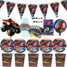 Blaze and the Monster Machines-platos de copa decorados, platos de recuerdo para Baby Shower, banderas para fiesta de cumpleaños, vajilla
