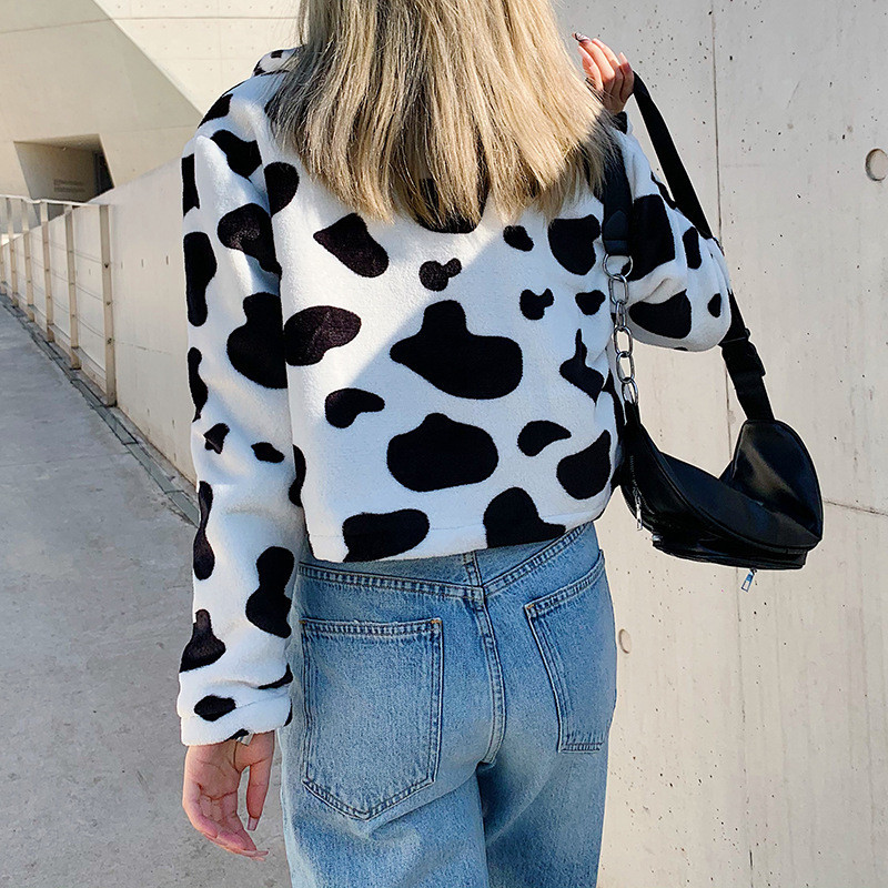 Focal20 Streetwear Cow Print Fluzzy Women Crop Coat Top Zipper Female Crop Jackets Outerwears Casual Warm Winter Lady Coats Tops 2