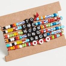 Shinus 6pcs/lot Rainbow Bracelet Women Love Letter Beads Bracelets Diy Pulseras bohemian Colorful Fashion Jewelry Summer Beach
