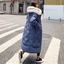 2019 New Winter Long coat Parka Women Big Fur collar Hooded Embroidery Thick Warm Down Jacket Women Loose Cotton-padded Jacket