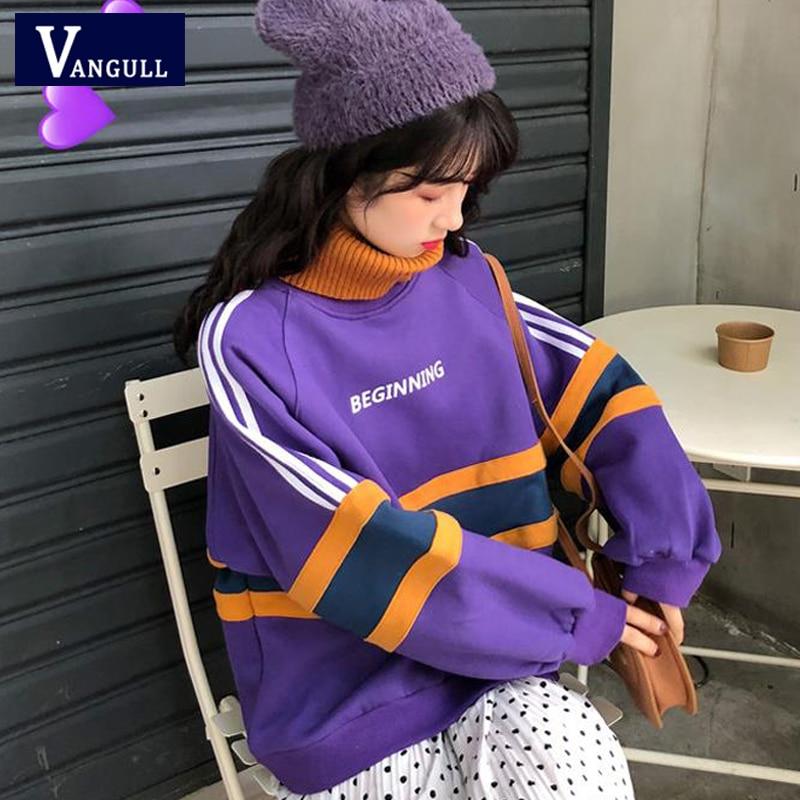 Vangull Winter Turtleneck Women Hoodies Pullovers Warm Loose Letter Print Hoodies 2019 Harajuku Thick Velvet Hoodies Pullovers