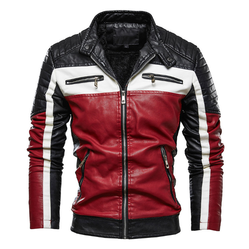 New Men Casual Motorcycle Pilot Leather Jackets Coats Fashion Colorblock Biker Jacket Men Fleece Faux Leather Coat