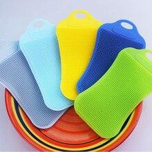 1Pc Siliconen Schotel Spons Scrubber Keuken Schoonmaken Antibacteriële Tool Schotel Kom Magic Cleaning Brush Schuursponsje Wassen
