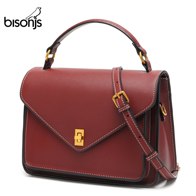 BISON DENIM Cow Leather Women's Bag Vintage Bags For Women 2019 Luxury Handbags Women Bags Designer Female Shoulder Bag B1619