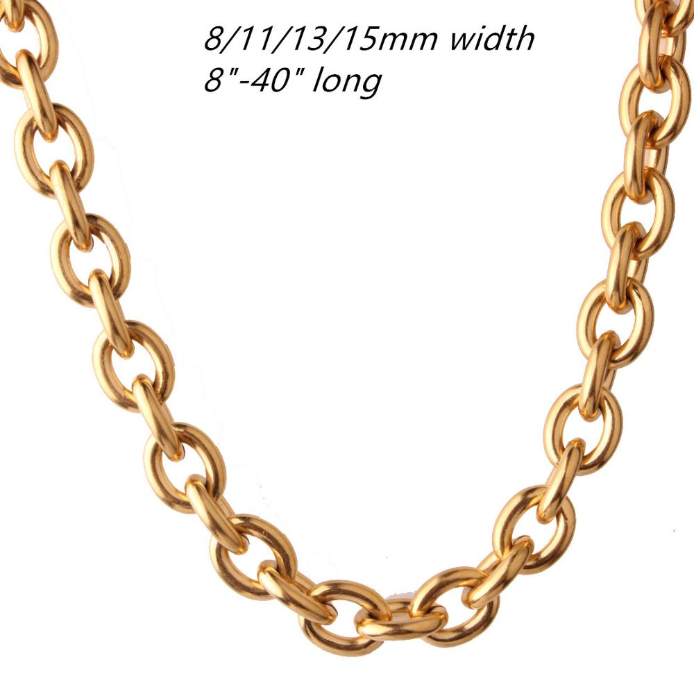 8/11/13/15MM Fashion Jewelry 316L Stainless Steel Gold Tone Rolo Oval Link Chain Men Women Necklace Or Bracelet Bangle 8-40inch