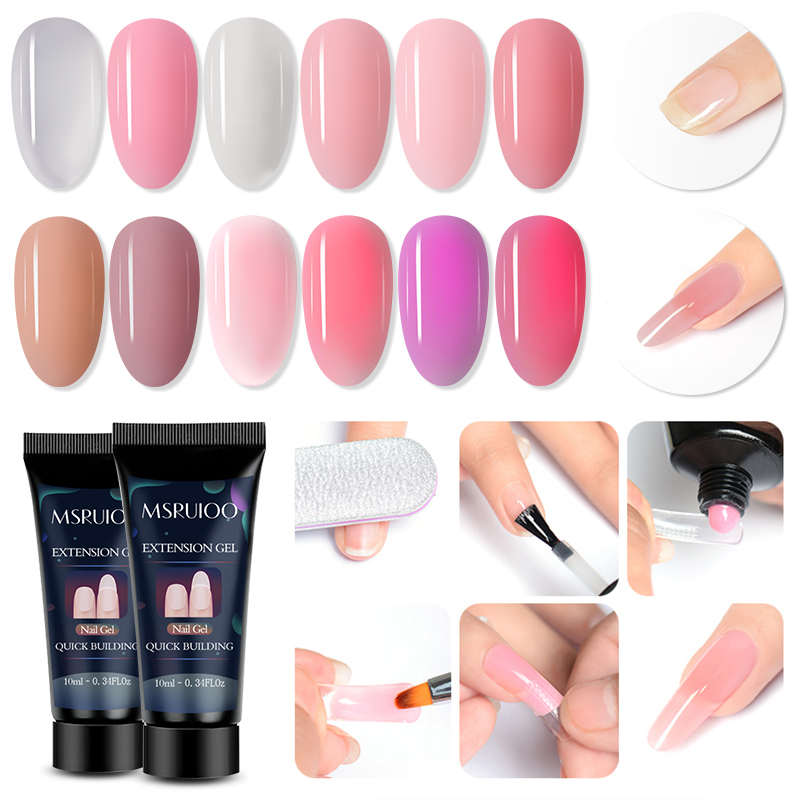 MSRUIOO 10ml Acrylic Poly Extension Gel Quick Building Gel Polish Clear Pink Nail Tips Builder UV Gel  Soak Off Nail Art Gel