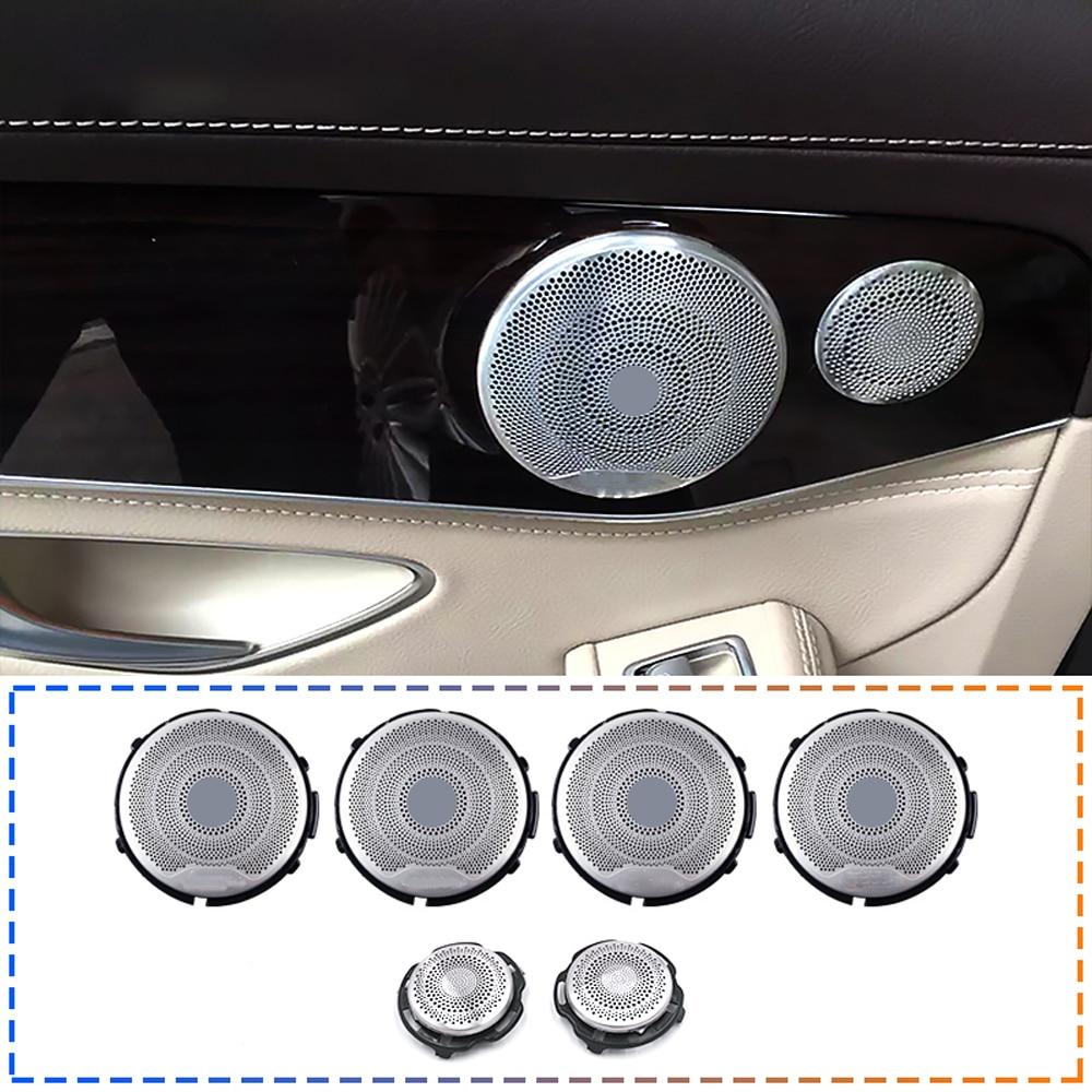 6 pcs ลำโพงเสียงสำหรับ W213 W205 GLC Mercedes Benz AMG E C Class ประตูรถทวีตเตอร์ Trim สติกเกอร์คุณภาพสูงเปลี่ยน