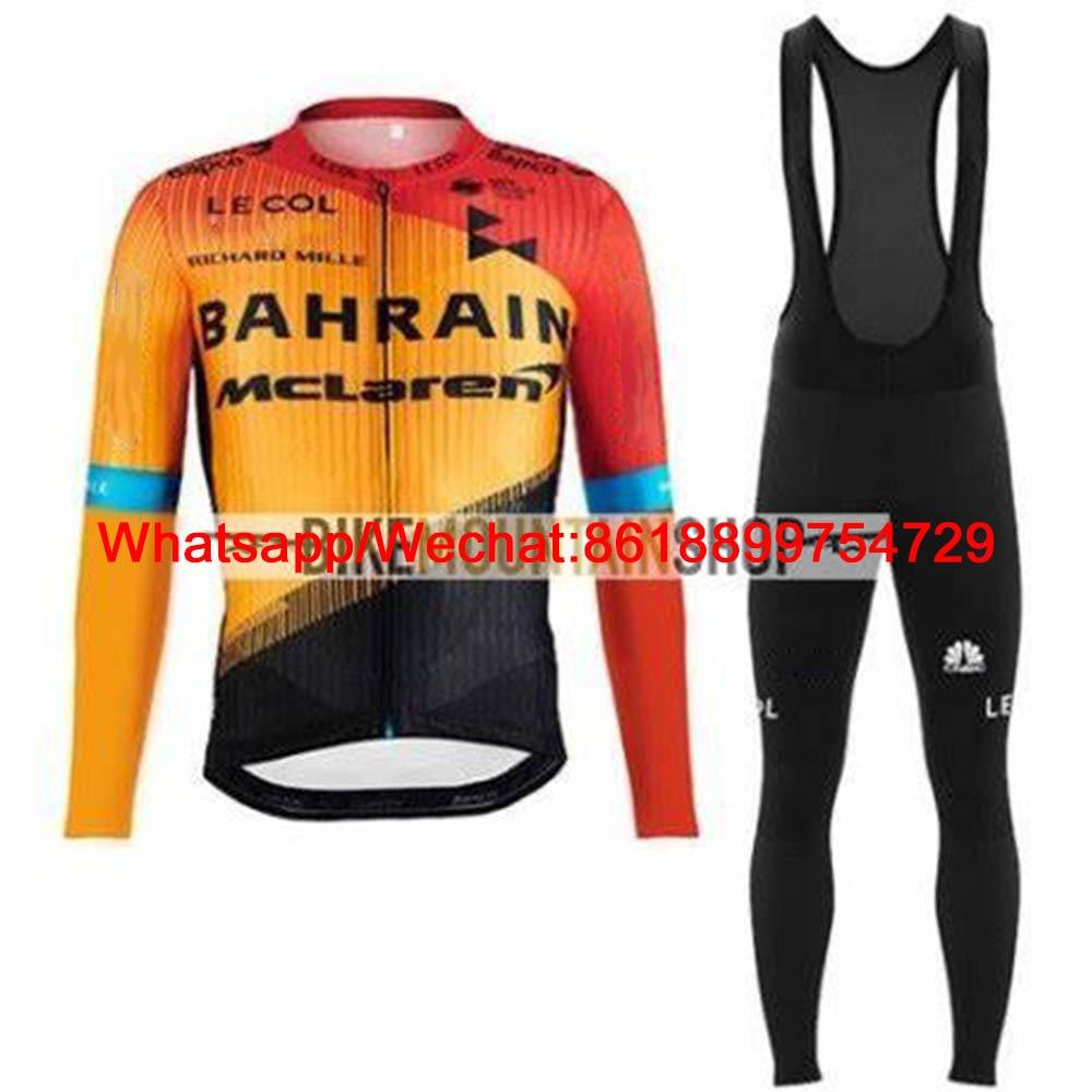 Le Col Team Bahrain Mclaren 2020 Cycling Jacket Suit Winter Warm Fleece Bike Jersey Ciclyng Set Wielerkleding Trajes Ciclismo|Cycling Sets| |  - title=