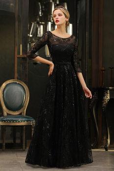 Elegant Black Lace A-line Mother Of The Bride Dresses Modest O-neck 3/4 Sleeves  Wedding Party Dresses Vestido De Madrinha 6