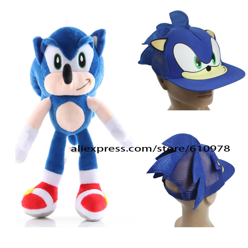 Ohmetoy 2pcs Sonic The Hedgehog Plush Doll Cosplay Hat Baseball Cap Adjustable Kids Birthday Gift Collection Plush Sonic Gift Kids Birthdaysonic Plush Doll Aliexpress