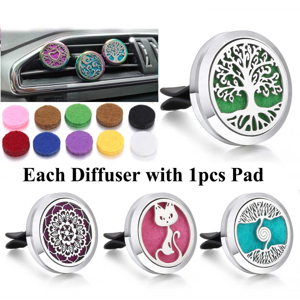 New Aromatherapy Jewelry Pendants Car Clip Tree of Life Kaleidoscope Aroma Diffuser Pendant Necklace Car Perfume Diffuser Locket