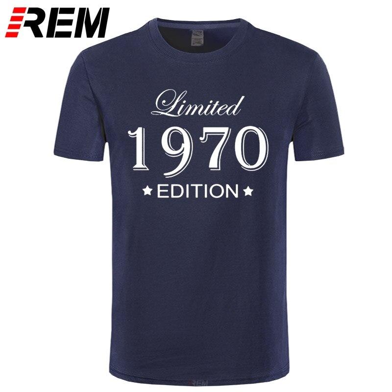 Estilo de Verão Curta o Pescoço Feito em 1970 Engraçado Edição Limitada Camisas Masculino Aniversário Manga Algodão Homem Camisetas 1970 t