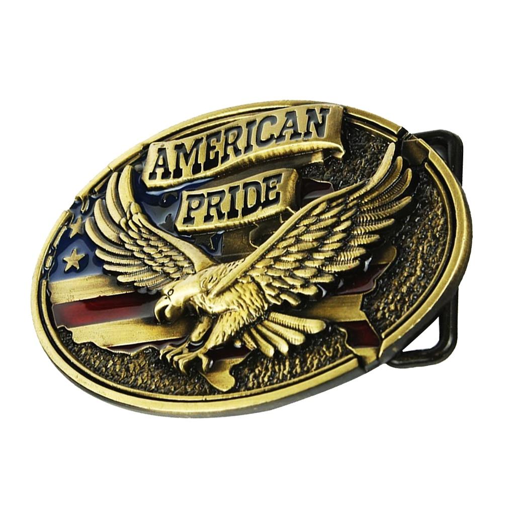 Vintage Texas Cowboy Western Belt Buckles, Antique Engraved Eagle Buckles Bronze Color - 1.42-1.54 Inch