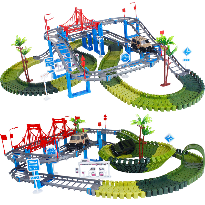Flexible Track Car Electronic Railway Road Model Tracks Toy Bend Race Vehicles DIY Assembly Play Set For Boy Children Gifts