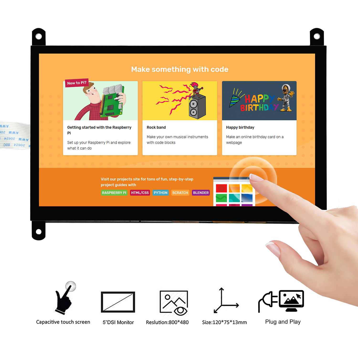 4 2 3 OSOYOO 7 Inch DSI Touch Screen LCD Display 800x480 for Raspberry Pi 4 3 3B+ 2 (1)