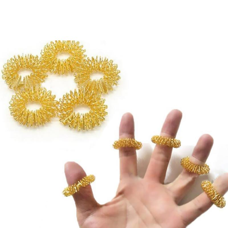 10pcs/Lot Finger Acupuncture Massage Rings Stainless Steel Body Hand Massager Relax Stress Relief Circles Health Care