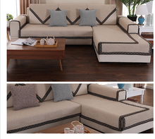 Four universal season non-slip sofa cushion fabric Simple modern breathable thick non-slip cotton cushion цена 2017