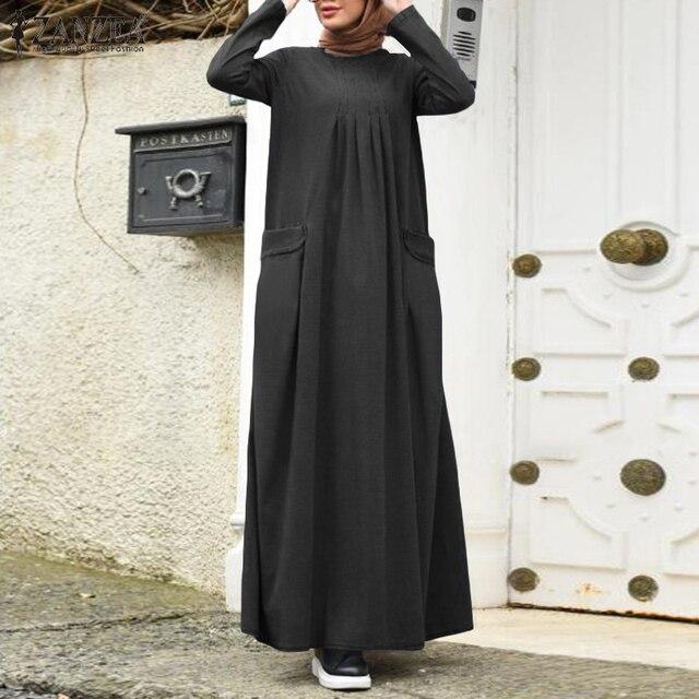 Plus Size Denim Blue Sundress 2021 Autumn Women Dubai Abaya Long Dress Casual Long Sleeve Muslim Dress Loose Vestidos Kaftan 5