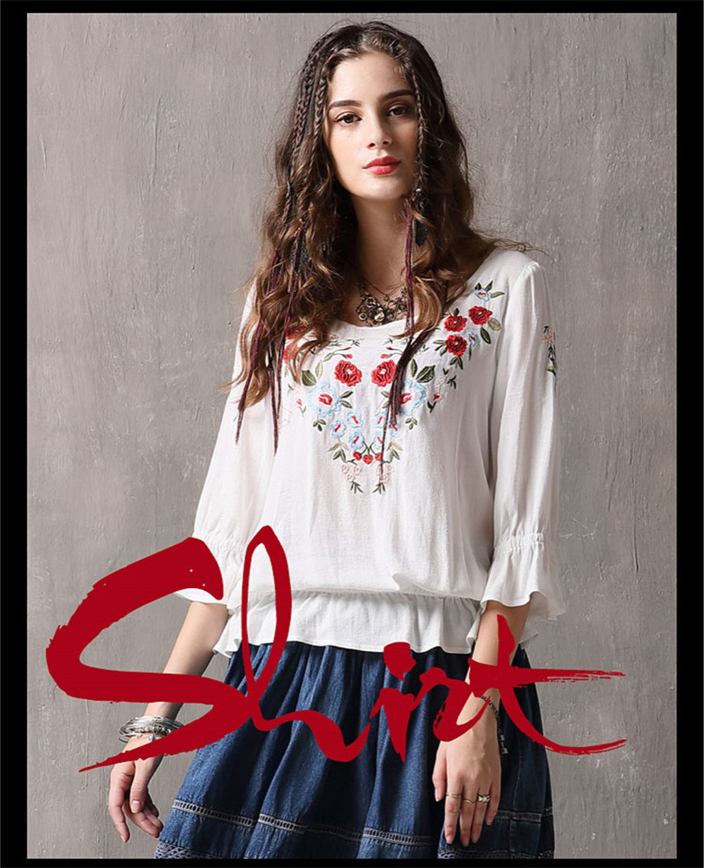 Spring 100% Cotton Women Loose Blouses Shirts 2020 Vintage Blusas O-Neck Flare Sleeve Floral Embroidery White Women`s Shirt 9260 (1)