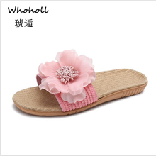 Whoholl Women Flax Slippers Summer Casual Slides Beach Shoes Ladies Indoor Shoes Home Linen Slippers Floral Bow-knot Flip Flops whoholl women summer linen slippers breathable cute rabbit linen flip flops female casual flax slippers sandals indoor shoes