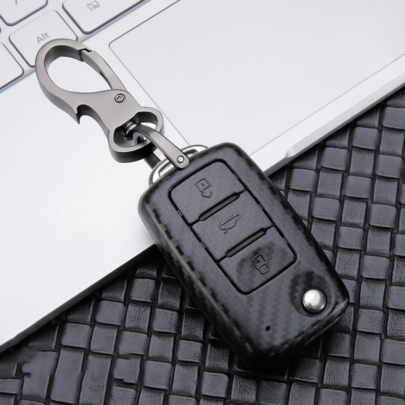Carbon Fiber Car Key Case For VW Golf 7 MK7 Tiguan MK2 For Skoda Octavia A7 Kodiaq 2017-2019 Jetta POLO Passat Fabia SEAT Leon