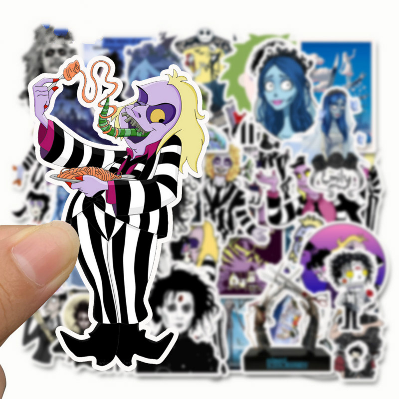 50 Pcs Tim Burton Cartoon Films Corpse Bride Stickers Home Decoration Silk Art Poster
