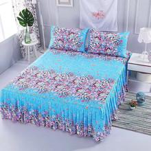 2019 romantyczne koronkowe na łóżko spódnica elegancka szyfonowa narzuta satynowa pościel bawełniana home decoration narzuta gumką tanie tanio Floral 100 bawełna 400tc Domu Drukowane