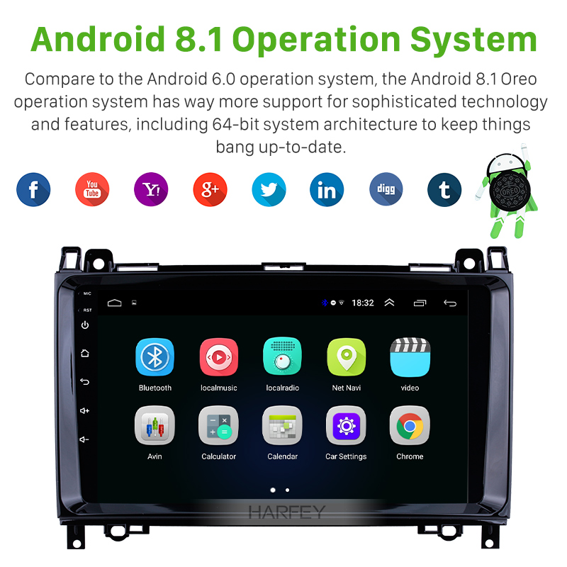 Harfey Car 2Din <font><b>GPS</b></font> Android8.1 Navi Auto Radio For <font><b>Mercedes</b></font> Benz B W245 B150 B160 B170 <font><b>B180</b></font> B200 B55 2004-2012 Multimedia Player image