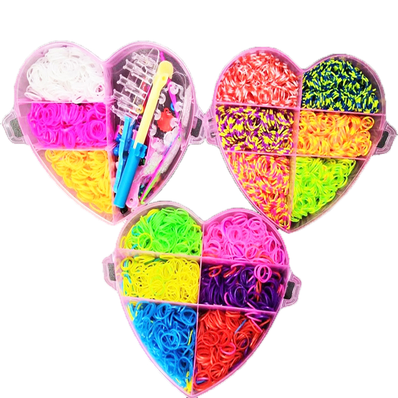 4000pcs Children Rainbow Rubber Band Kits Craft Toy Heart Box Three Layers Elastic Bracelet Ribbon Knitted Figures Charms Craft