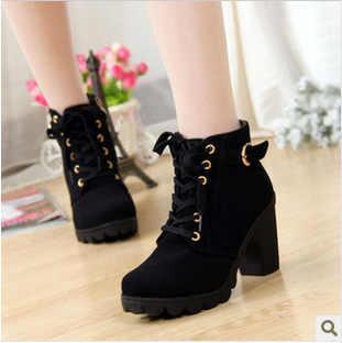 Giày Nữ Giày Nữ Cao Gót Thời Trang Cao Cấp Phối Ren Cổ Chân Giày Nữ Khóa Nền Tảng Da Nhân Tạo Giày Bota Feminina 2019