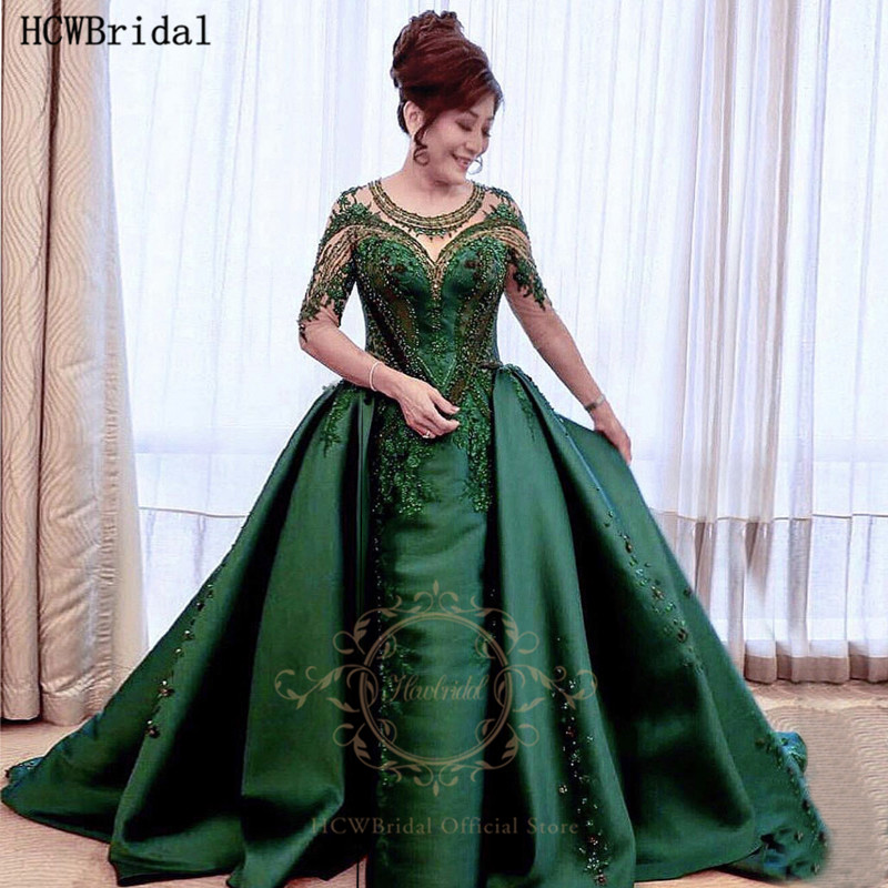 Long Green Evening Formal Dress With Detachable Train Half Sleeves Chic Beaded Appliques Satin Plus Size Occasion Party Dresses