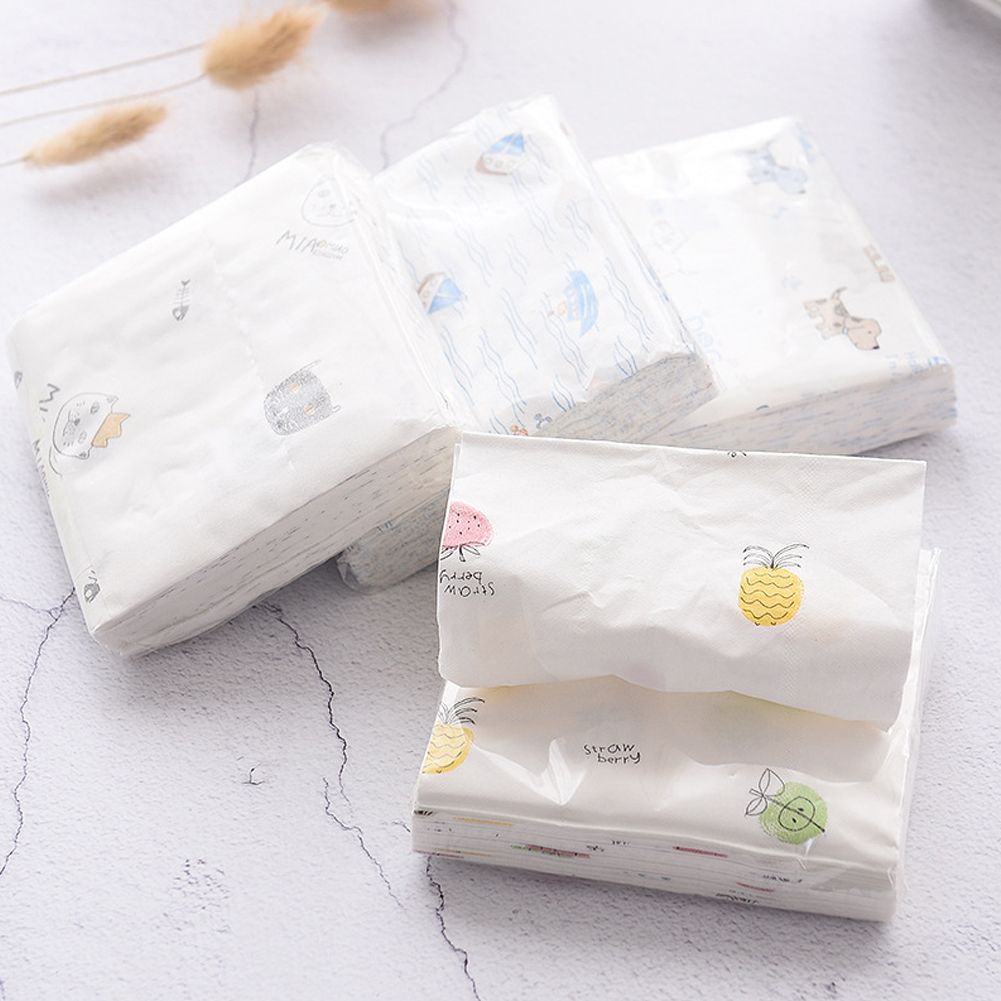 12 Packs 3-Layer Disposable Facial Paper Tissues Thickened Cartoon Printing Napkins Sanitary Paper Color Send Random
