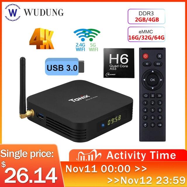 สมาร์ททีวีกล่องAndroid 9.0 Tanix TX6 Allwinner H6 Quad Core 4GB RAM 64GB ROM 32G 4K 2.4G/5GHz Dual WiFi Set Top Box